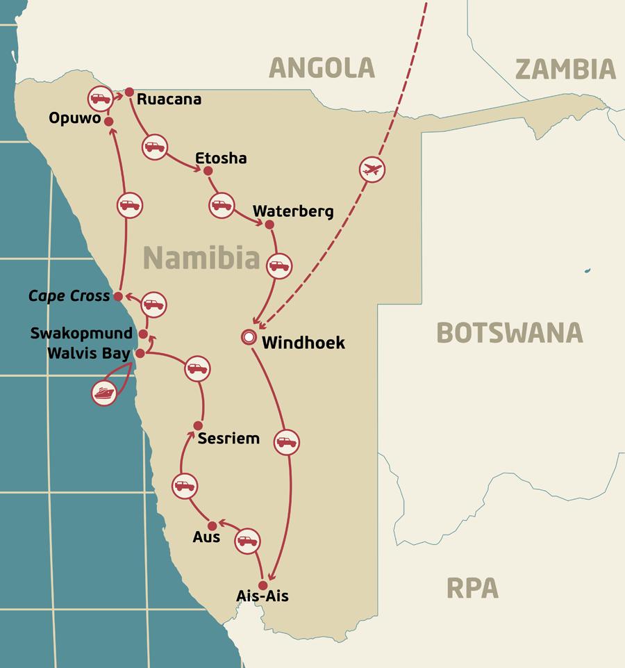 Mapa podróży - Namibia