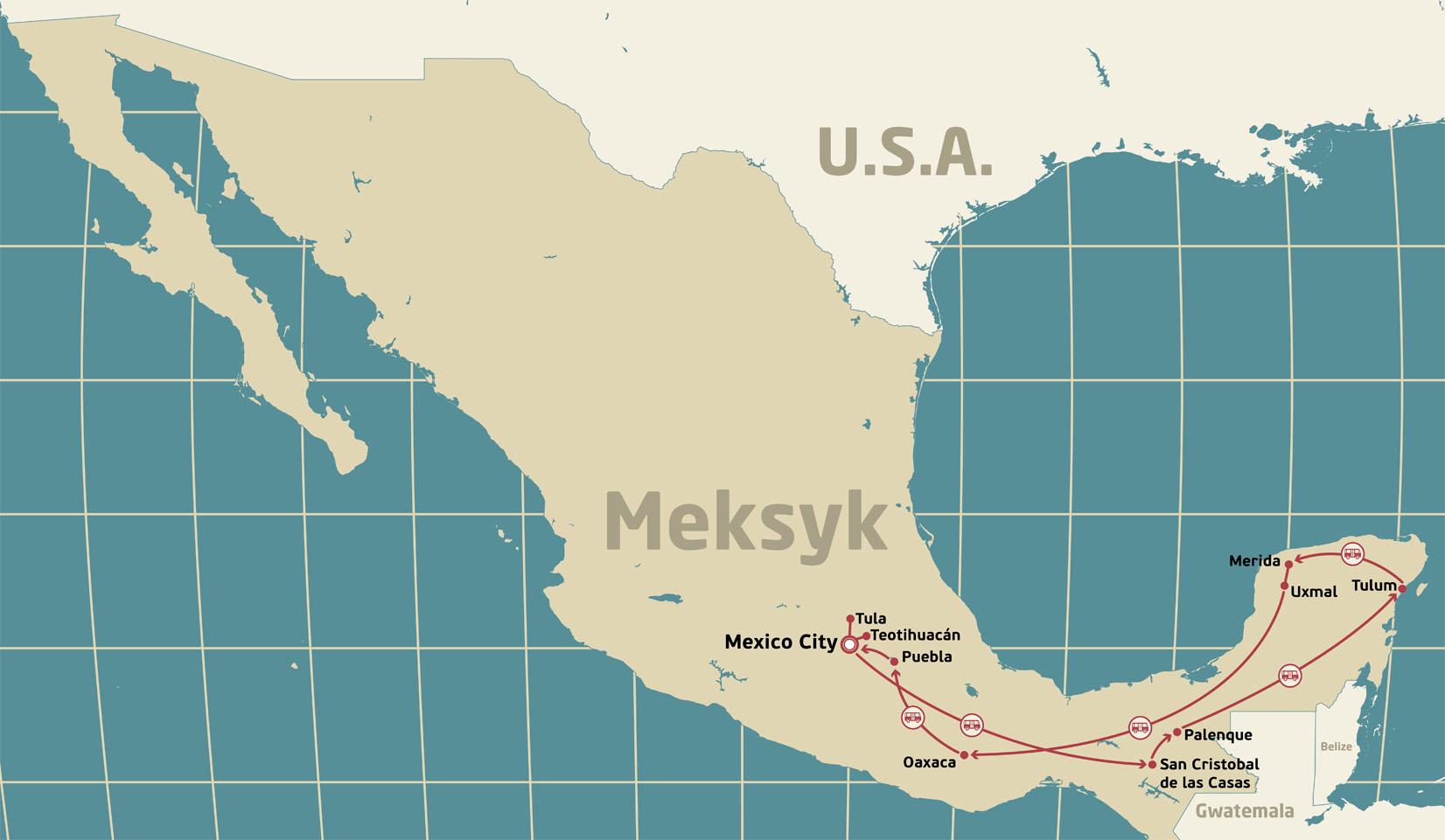 Mapa Meksyku